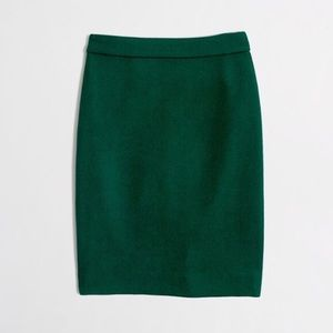 J.Crew Green Wool Blend Pencil Skirt